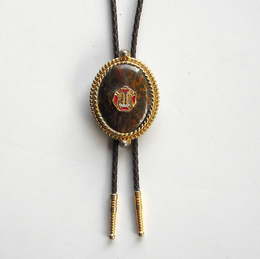 Vintage Scottish Rite Masonic Coats of Arms Bolo Bootlace Tie