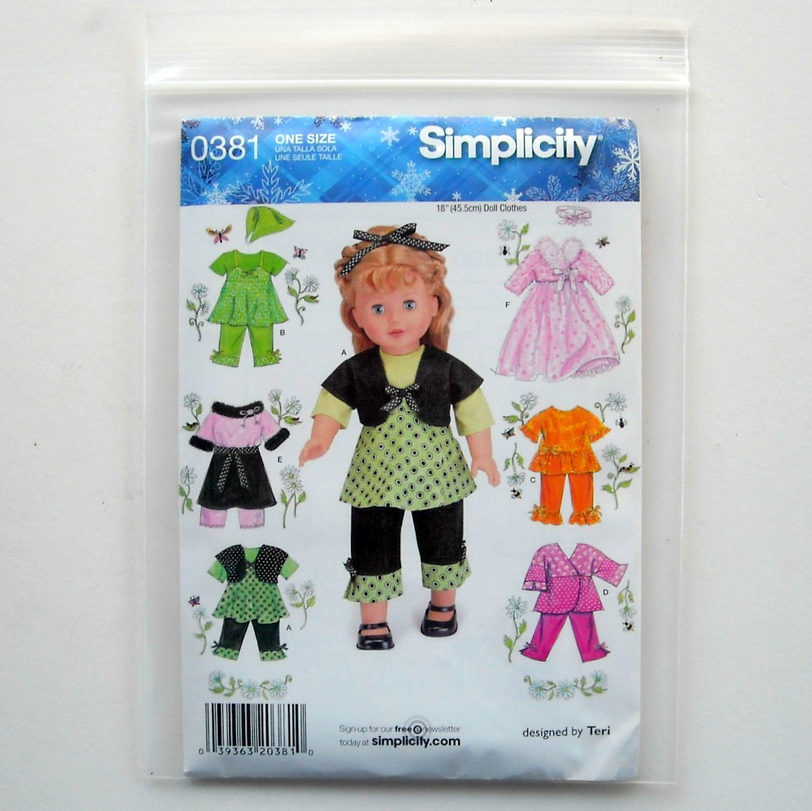 Simplicity 18 inch Doll Clothes Craft Sewing Pattern 0381