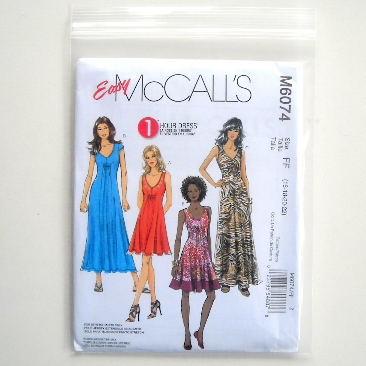 Misses Dresses 3 Lengths McCalls Easy Sewing Pattern M6074