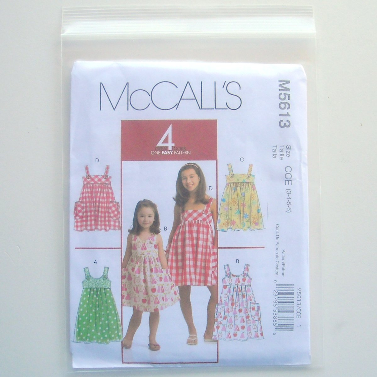 Childrens Girls Dresses 4 Great Looks McCalls Sewing Pattern M5613