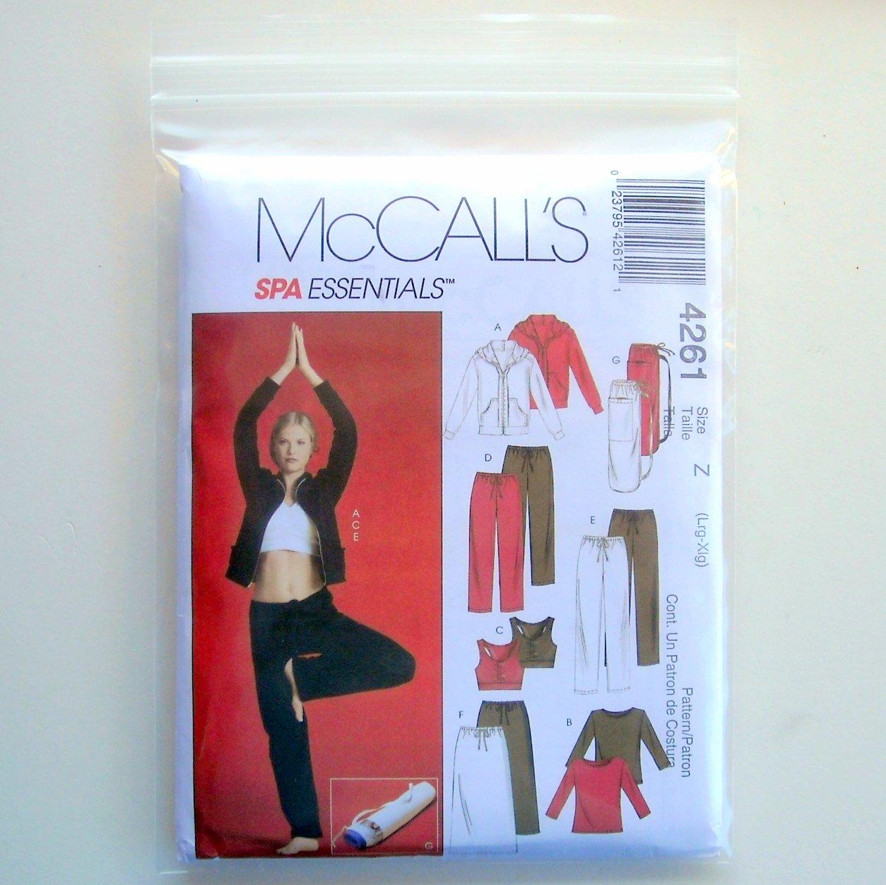 Misses Spa Essentials Jacket Top Bra Pants Skirt Bag Lrg Xlg McCalls Sewing Pattern 4261