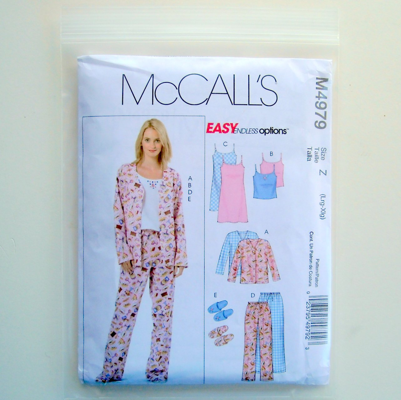 Misses Petite Top Nightgown Pants Slippers McCalls Easy Sewing Pattern M4979