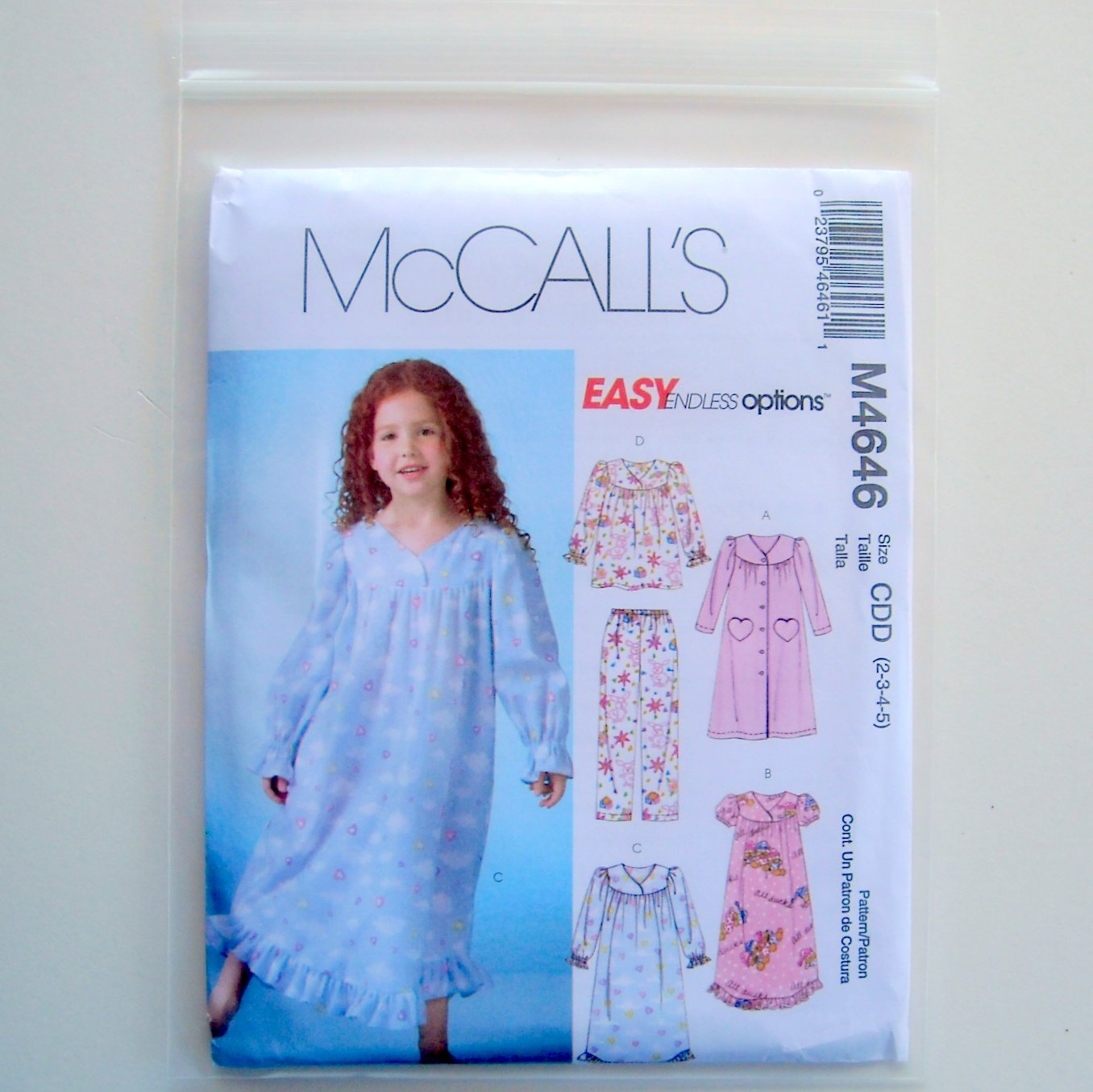 Childrens Girls Robe Gowns Top Pants 2 - 5 McCalls Easy Sewing Pattern M4646