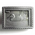 American Legends Foundry Cinnamon Teal Stamp USA #2589 Pewter Belt Buckle