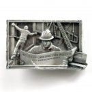 Vintage American Construction Worker 1982 3D Pewter alloy belt buckle