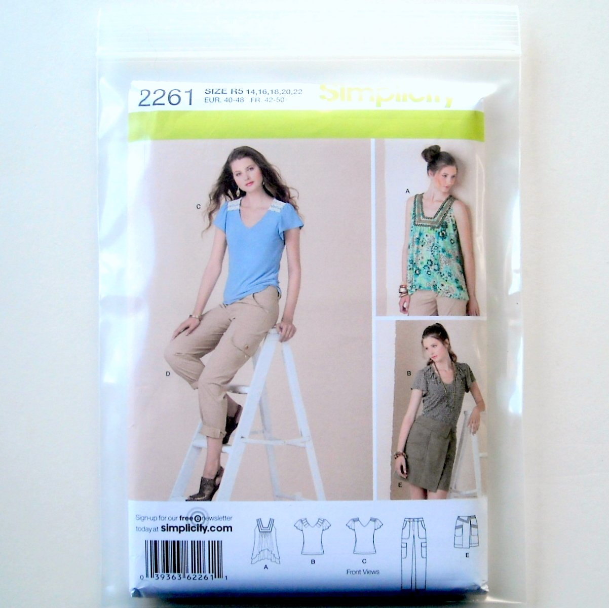 Simplicity Misses Sportswear Skirts Pants Tops Sewing Pattern 2261