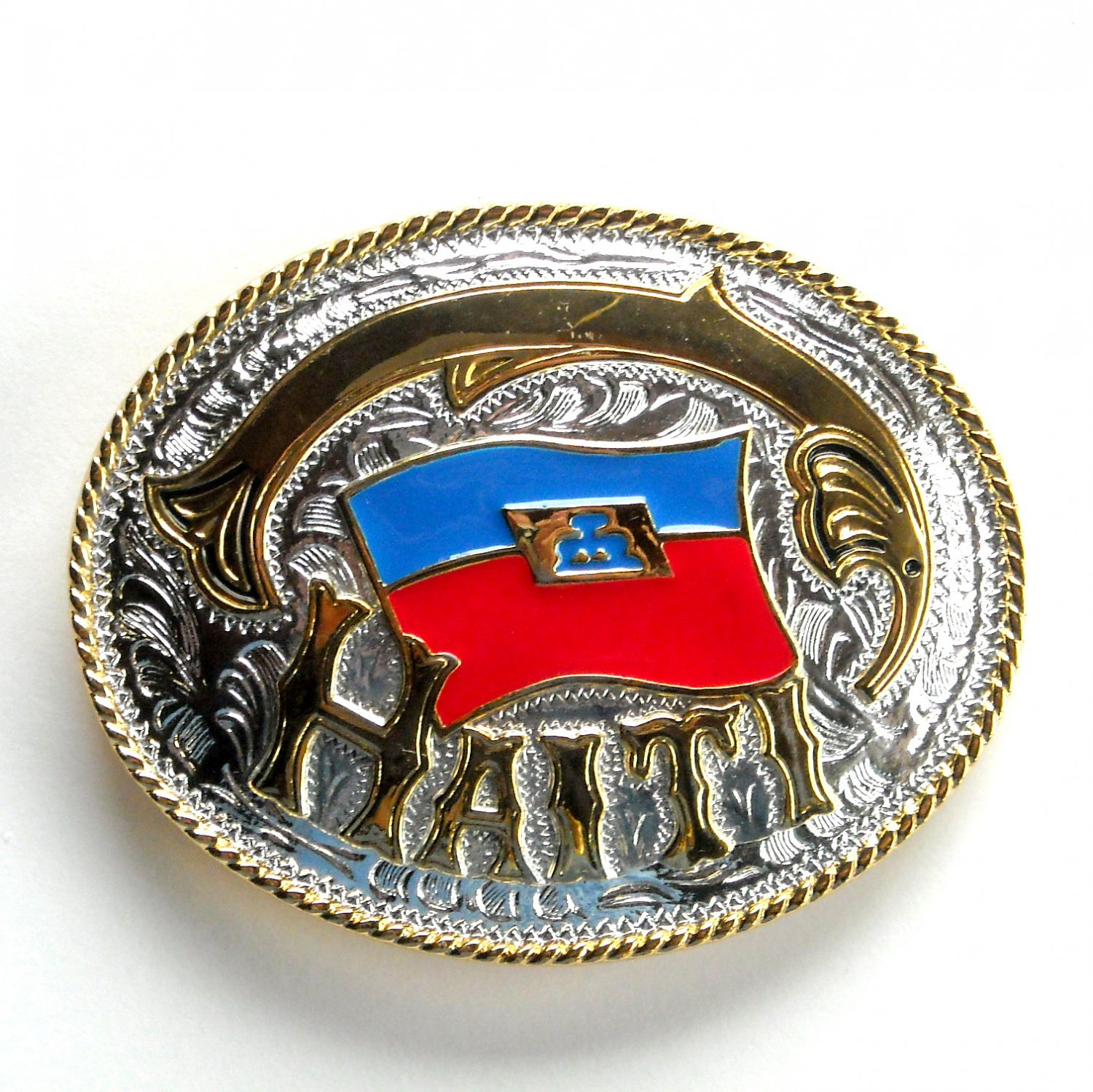 Flag Of Haiti Gold Silver Color Metal Alloy belt buckle