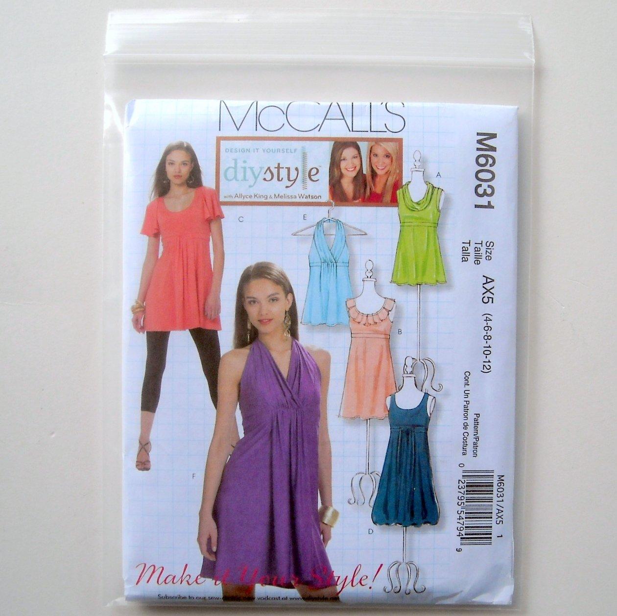 Misses Tops Tunics Dresses DIY Style McCalls Sewing Pattern M6031