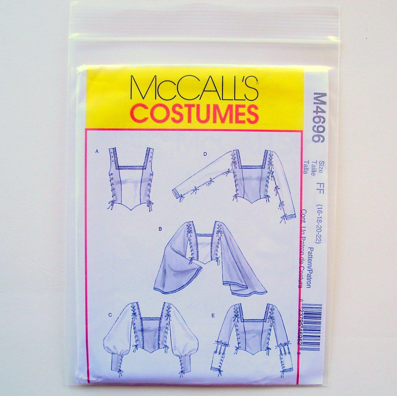 Misses Renaissance Tops 16 18 20 22 McCalls Costumes Sewing Pattern M4696