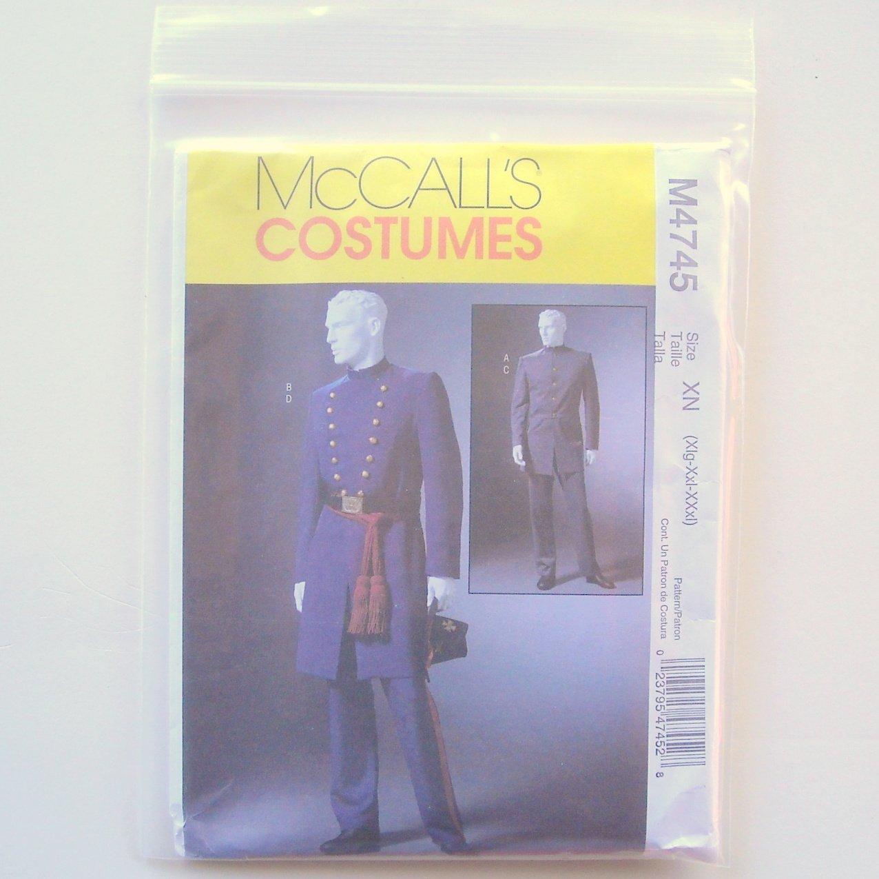 Mens Civil War Costumes Size XN Xlg Xxl XXxl McCalls Costumes Sewing Pattern M4745