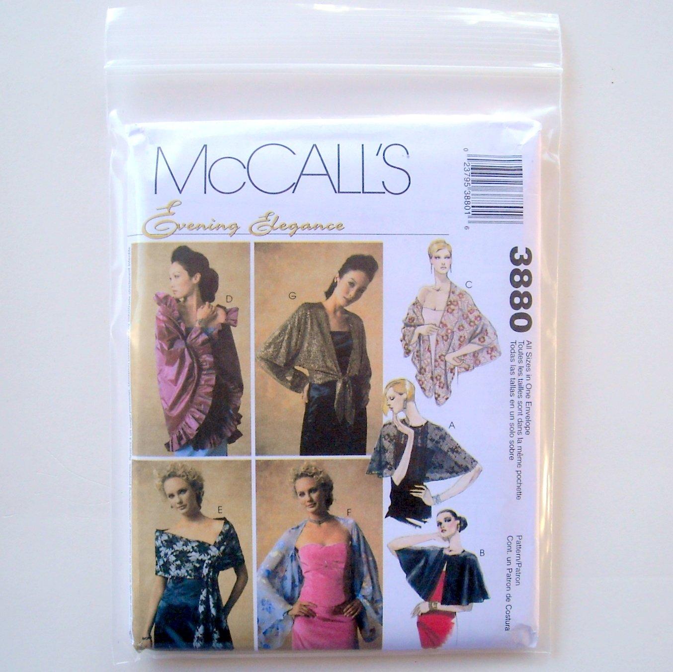 Evening Elegance Misses Miss Wraps McCalls Sewing Pattern 3880