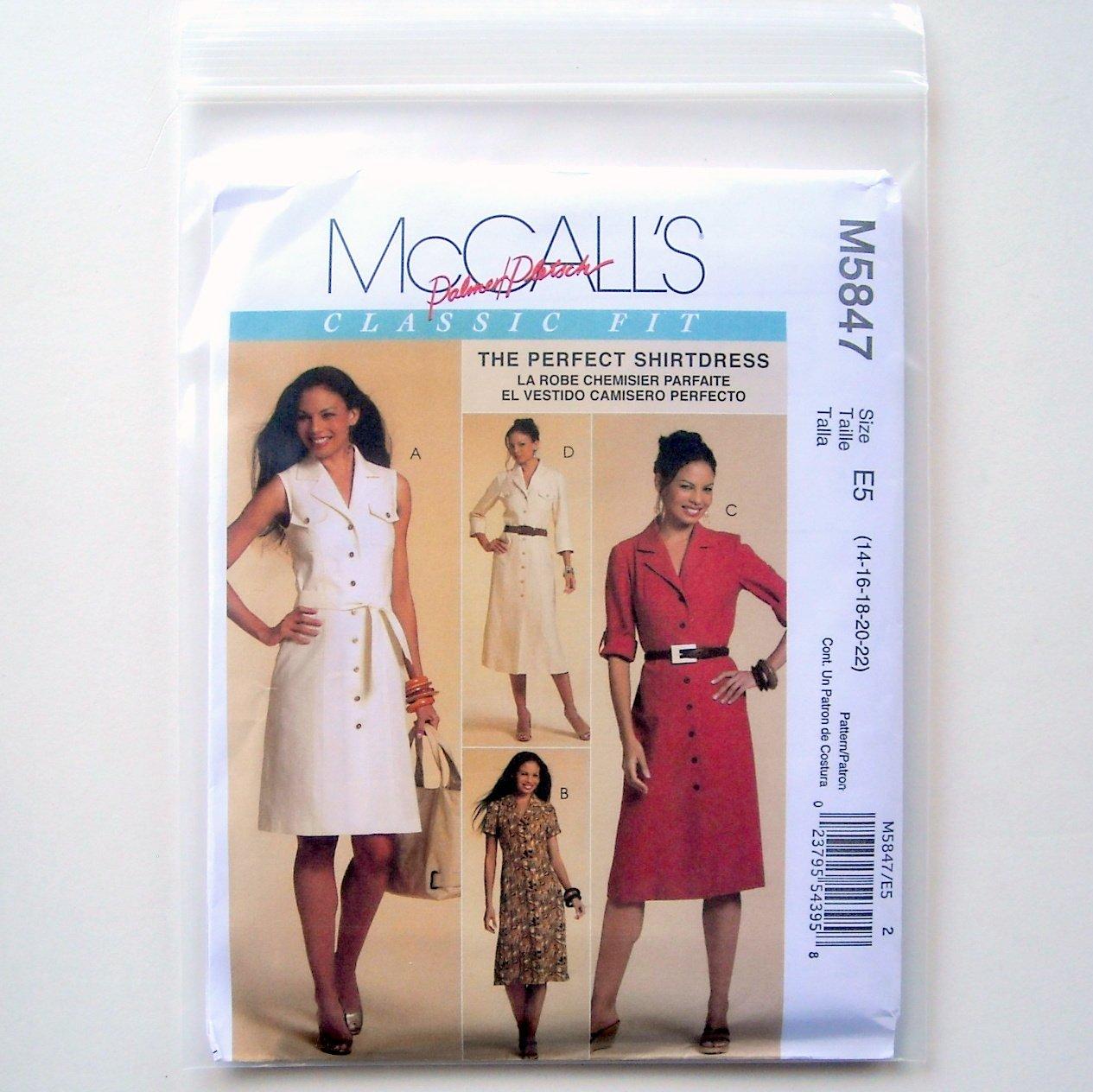 Misses Shirtdresses 3 Lengths Palmer Pletsch 12 - 20 McCalls Sewing Pattern M5847