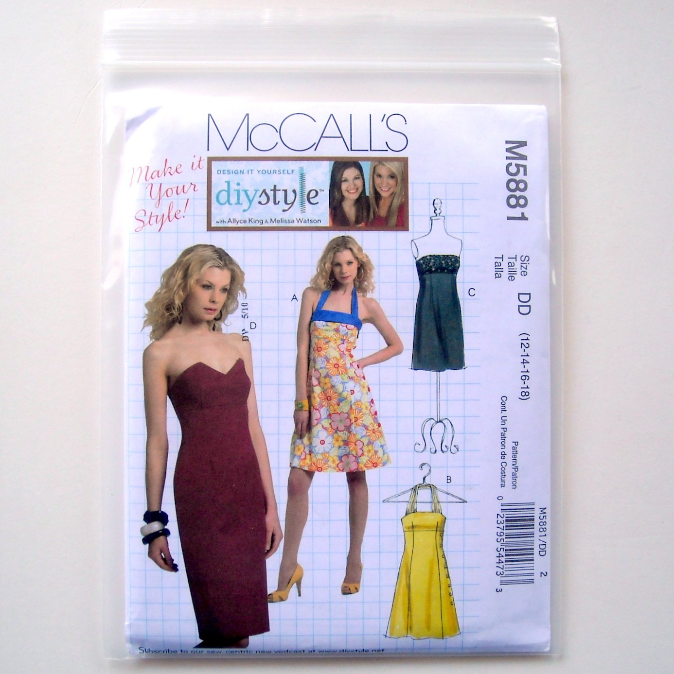 2 Lengths Misses Dresses Size 12 - 18 McCalls Sewing Pattern M5881