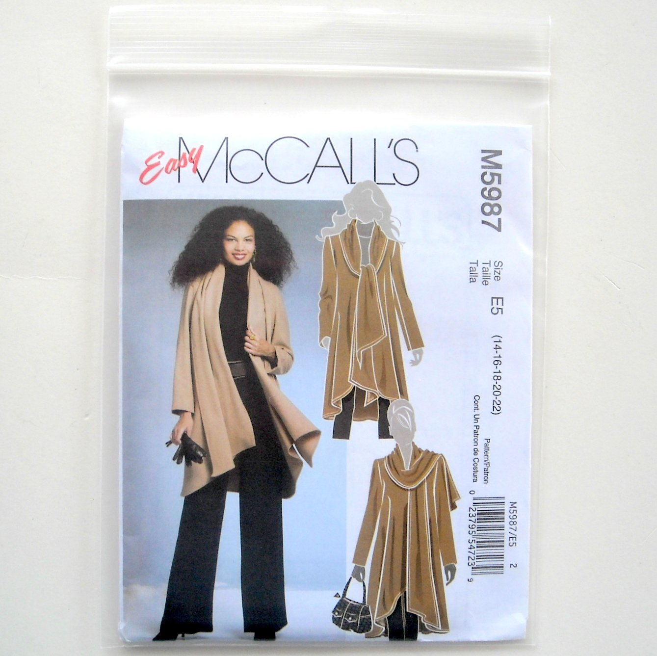 Misses Unlined Coat Size 14 - 22 McCalls Sewing Pattern M5987