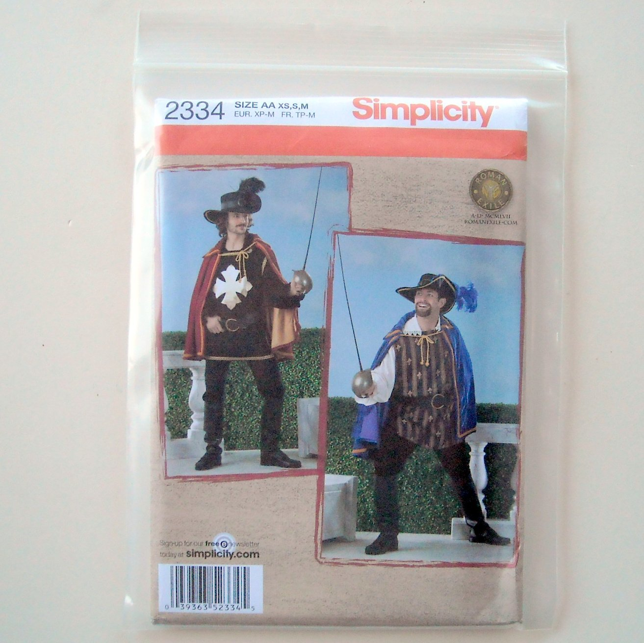 Mens Musketeer Costume Cape Shirt Tabard Hat Belt Size XS - M Simplicity Sewing Pattern 2334