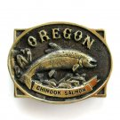 Vintage Chinook Salmon Oregon 3D Heritage Mint BW0933 Solid Brass Belt Buckle