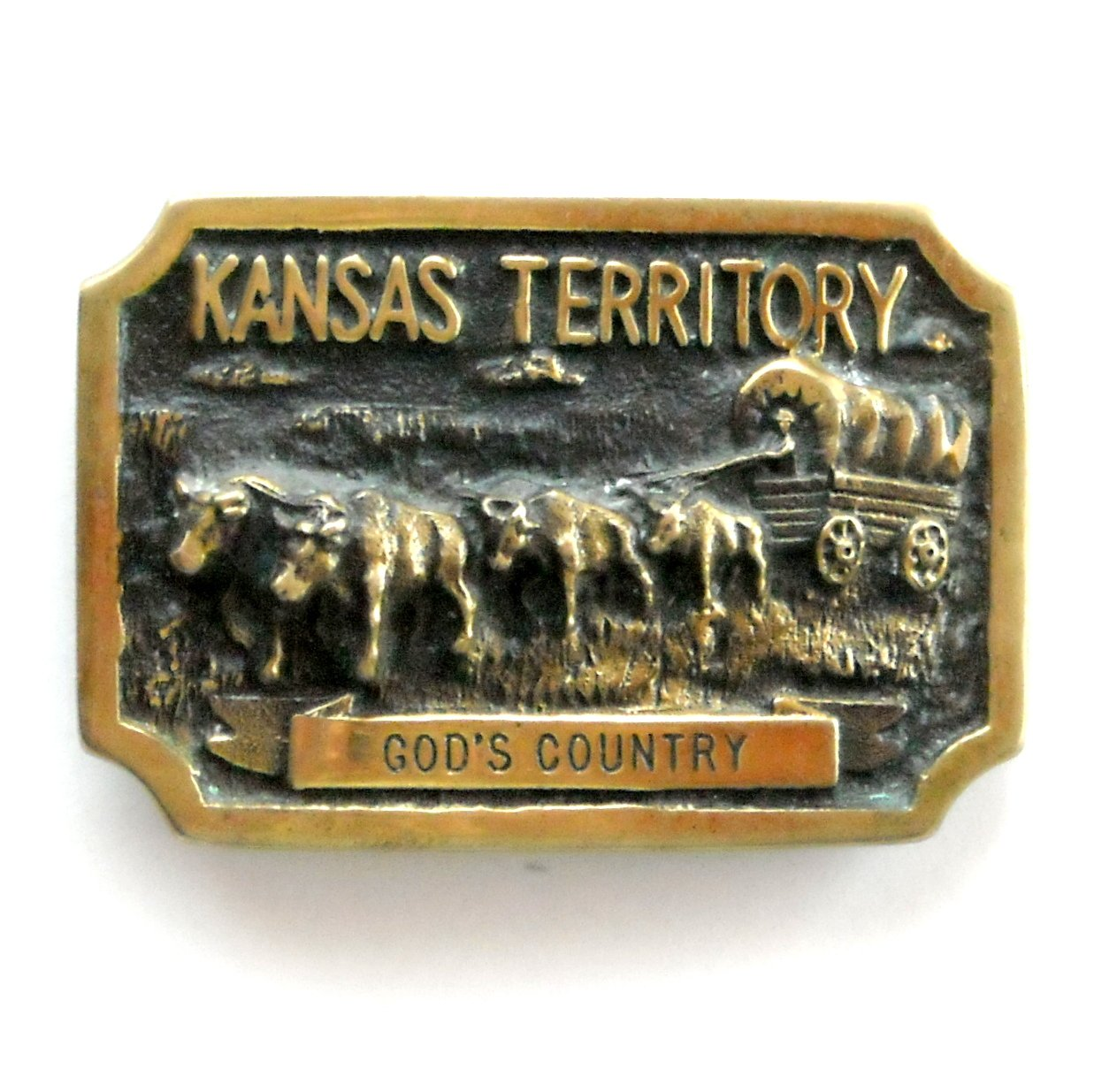 Vintage Kansas Territory Gods Country 3D Heritage Mint Solid Brass Belt Buckle