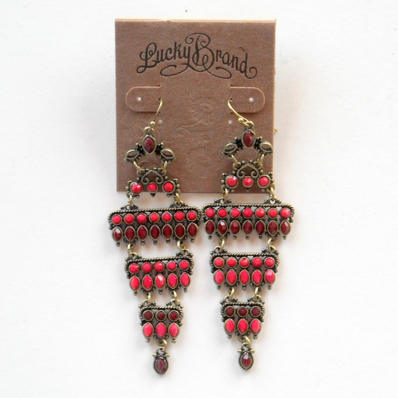 Lucky Brand Red Chandelier Brass Color Earrings