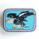 American Eagle Vintage Seed Bugle Beads Beaded Belt Buckle