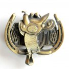Heavy Cowboy Saddle 3D Great American Brass Belt Buckle