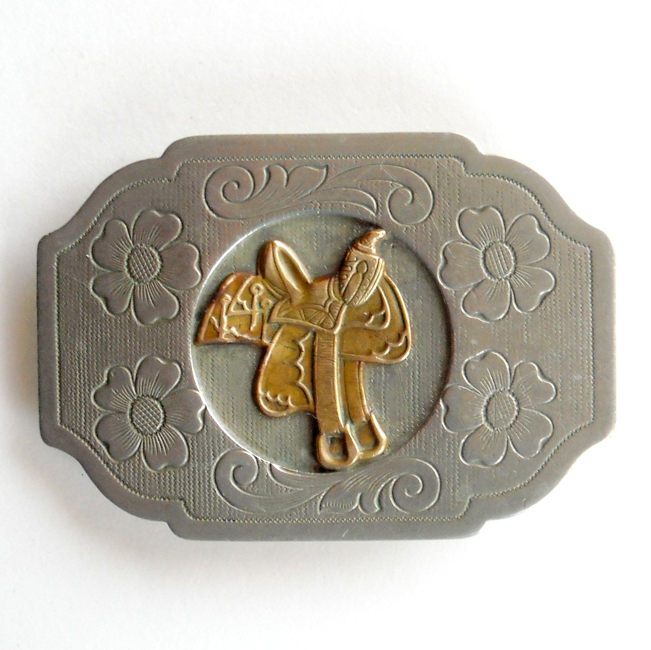 Western Saddle Nickel Silver Vintage Belt Buckle