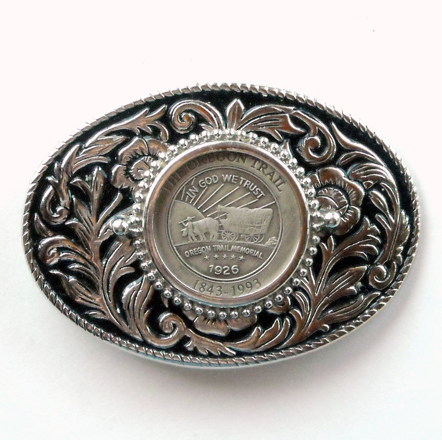 The Oregon Trail Silver color Made In USA belt buckle