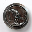 Skiing Silver color Made In USA Vintage round belt buckle