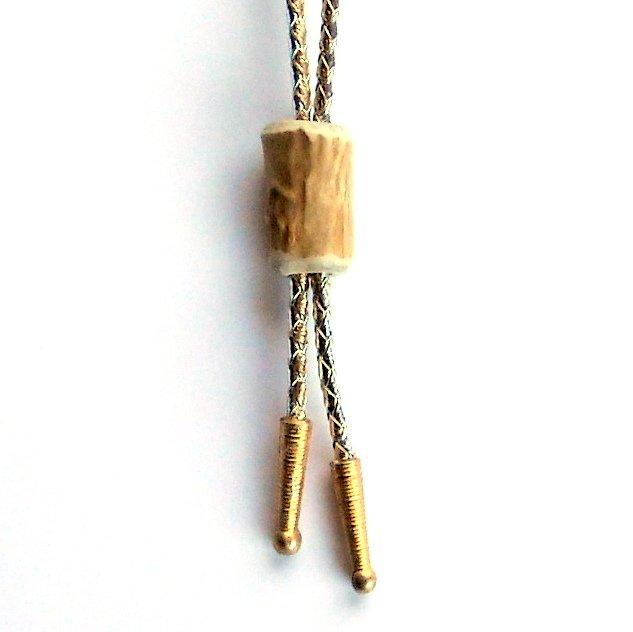 Genuine Deer Antler Round Handmade Bolo Bootlace Tie