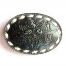 Tony Lama Embossed Black White Stitching Leather belt buckle