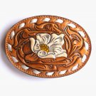 Tony Lama Brown Embossed Floral White Stitching Leather belt buckle