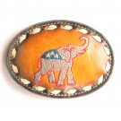 Republican Party GOP Elephant Red White Blue Leather Lacing Tony Lama Belt Buckle