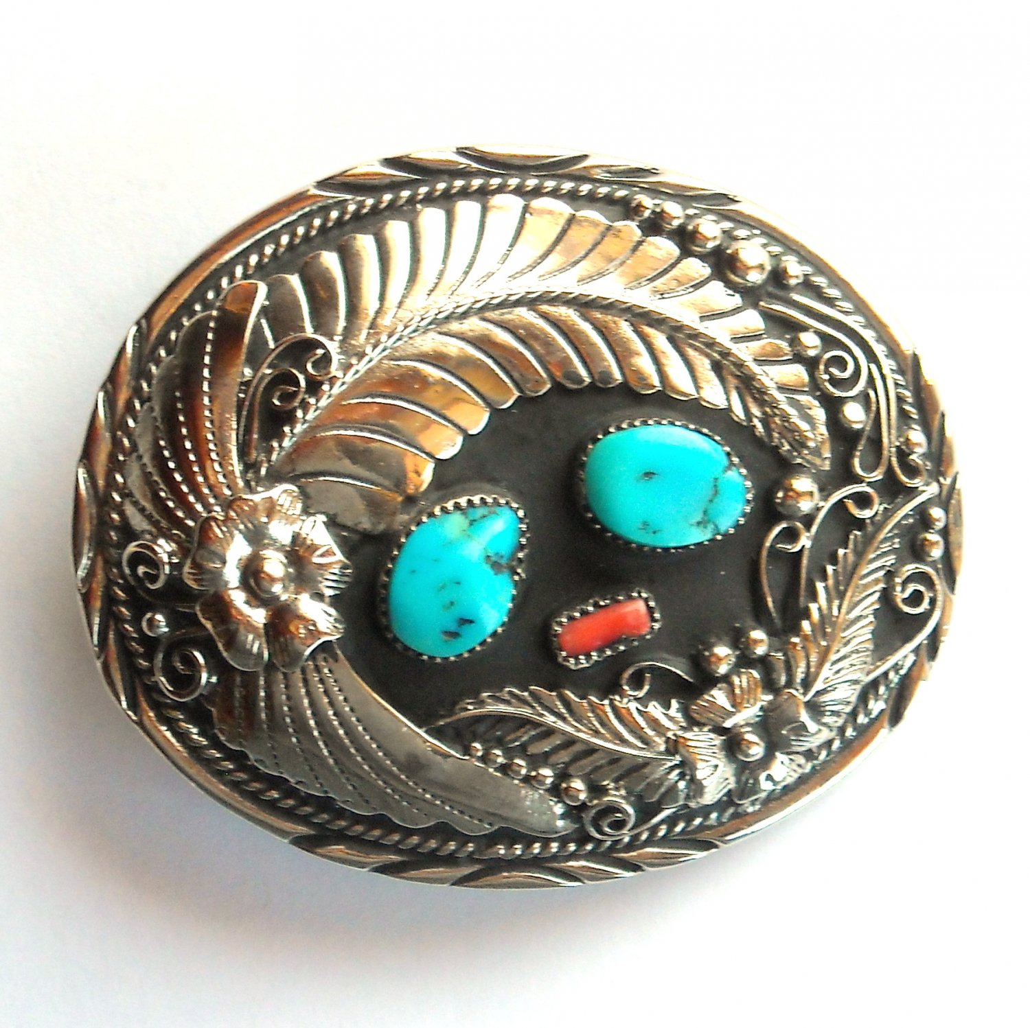Western Genuine Turquoise Handcrafted Silver Color Ssi