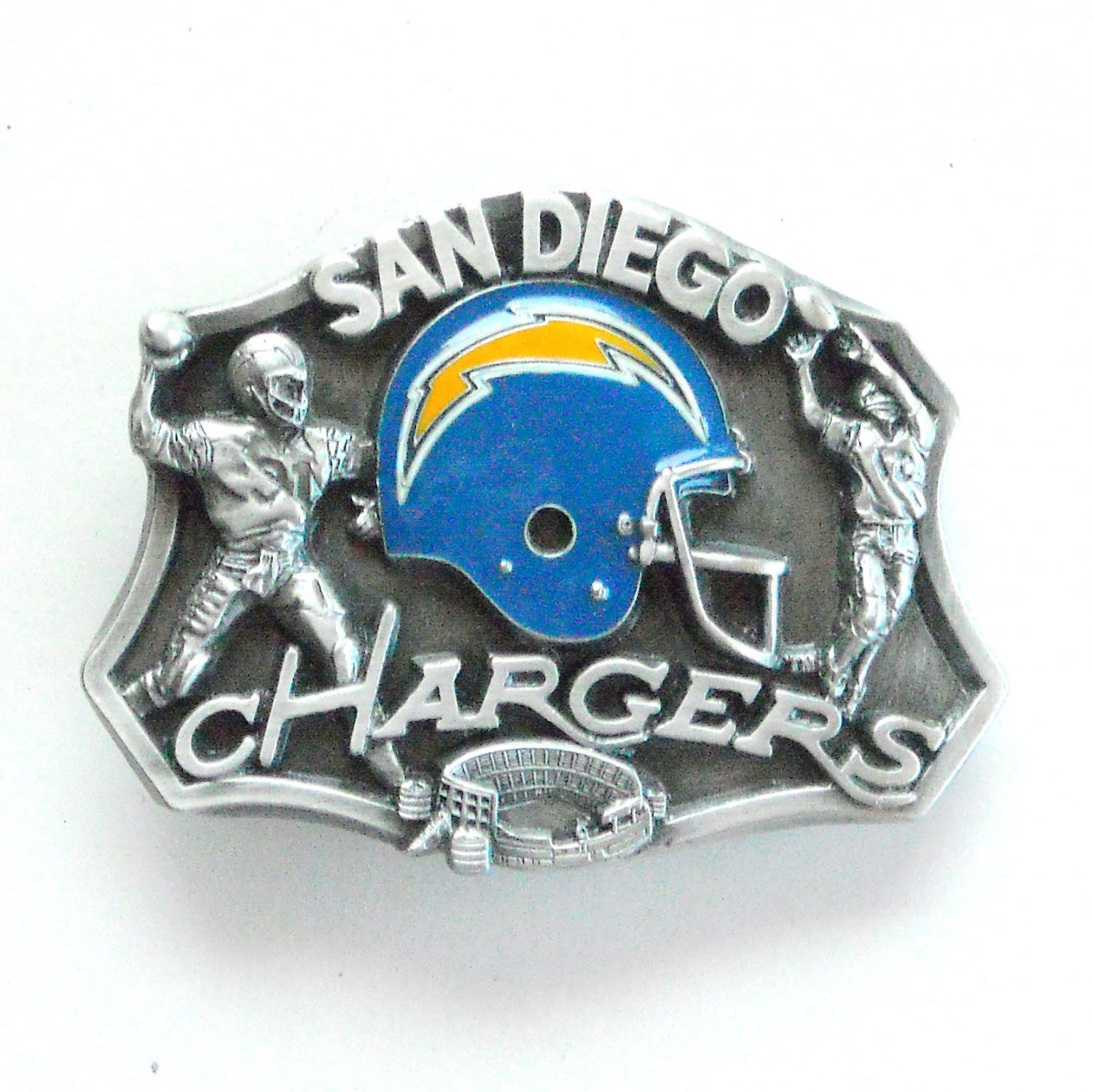 San Diego Chargers Box Office: San Diego Chargers 3D Vintage NFL Siskiyou Pewter Belt Buckle