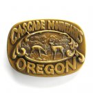 Cascade Mountains Oregon Indiana Craft brass belt buckle
