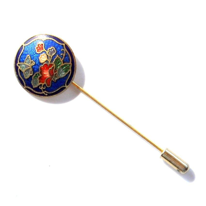 Art Deco Flower Brass color alloy Vintage necktie stick clutch pin