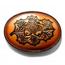 Acorn Nuts Embossed Brown Tony Lama Leather belt buckle