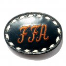 FFA Embroidered Tony Lama White Stitching Black Leather belt buckle