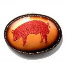 Red Pig Hog Boar Embroidered Tony Lama Brown Leather belt buckle
