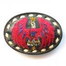 Red Phoenix Bird Embroidered Tony Lama White Stitching Black Leather Belt Buckle