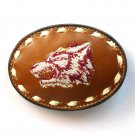 Wolf Embroidered Tony Lama White Stitching Leather Belt Buckle