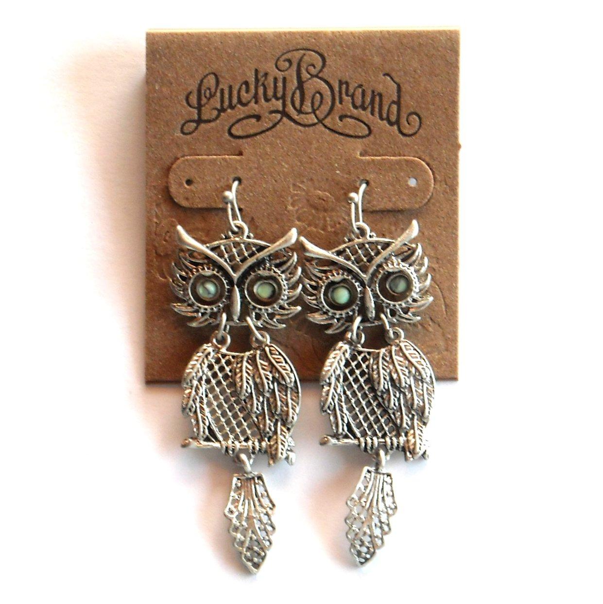 Lucky Brand Silvertone Shaky Owl Dangle earrings for women