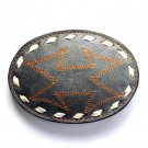 X Mark The Spot Tony Lama Grey Embroidered Leather belt buckle