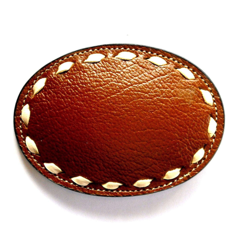 Dark Brown Cowhide Tony Lama White Lacing belt buckle
