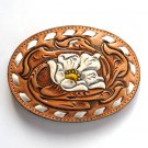 Tony Lama Tooled Yellow Beige Flower White Lacing Leather belt buckle