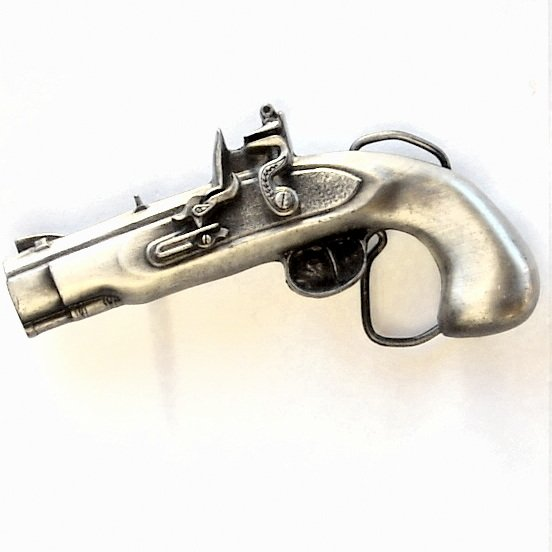 Pirate Flintlock Pistol Bergamot Pewter Belt Buckle