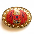 Red Phoenix Bird Embroidered Tony Lama White Stitching Brown Leather belt buckle