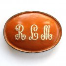 Tony Lama RLM Embroidered Brown Leather Belt Buckle