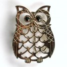 Silver Color Owl Black Eyes Open Cut Out Unisex Belt Buckle