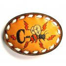 C Bee Design Embroidered Tony Lama Brown Leather Belt Buckle