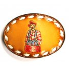 Rodeo Clown Embroidered Tony Lama Brown Leather Belt Buckle